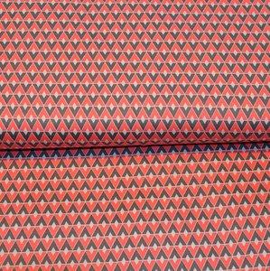 Cotton Satin Spandex - Diamonds grey/coral